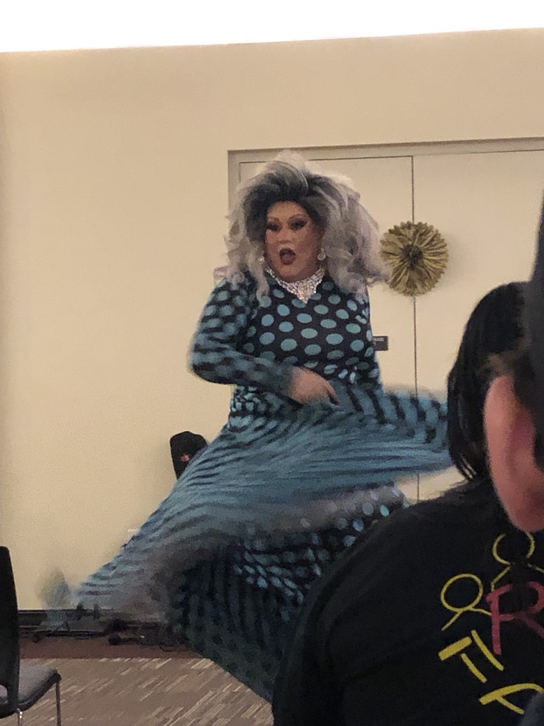 Genevieve, drag performer, dances for PRIDE's third annual drag show.
