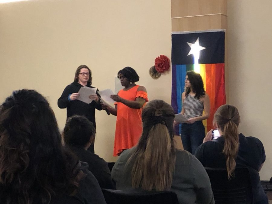Matt, Drag Queen Tulsi, and Leah performing second act of screenplay for drag show performance.