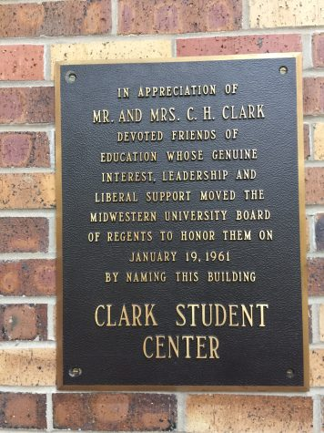 There is a plaque dedicated to Mr. and Mrs. Clark in the Clark Student Center. Photo by Elizabeth Mahan