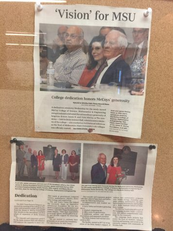 Clippings from the Times Record News are displayed in the McCoy buildings to remind students of the history of the McCoy college naming. Photo by Elizabeth Mahan