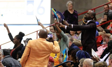 The crowd goes wild as their family and friends walk across the stage to gain their degree at the graduation ceremony at Kay Yeager Coliseum on May 11.