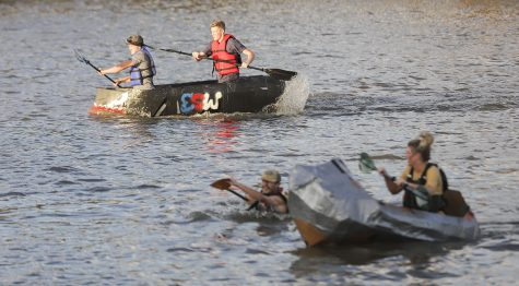 Cardboard boats sink the competition