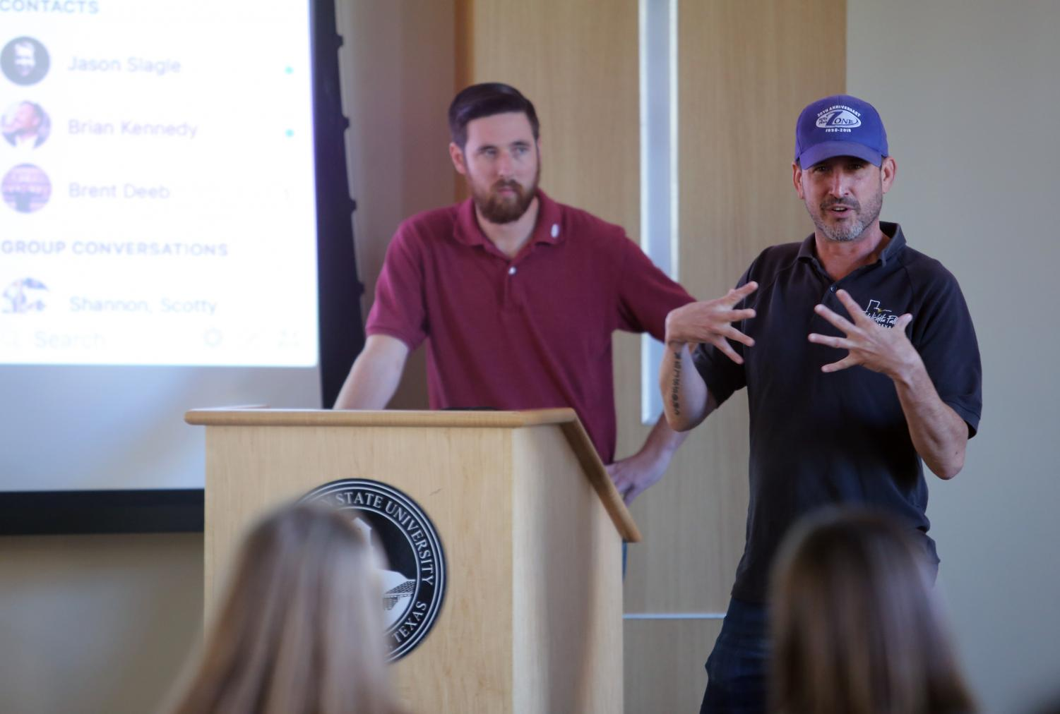 Ben Remmert, social media marketing specialist, and Eric Crosslin, public information for the City of Wichita Falls, discuss social media from a government perspective at the third MSU Texas Social Media Day, Oct. 1, 2018.