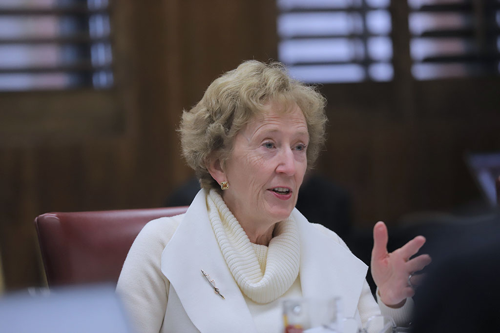 President Suzanne Shipley talks about keeping the change to professors mandatory office hours from 10hrs to 5hrs per week at the Board of Regents meeting. Nov. 7. Photo by Bridget Reilly