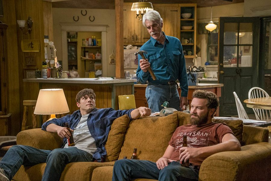 Ashton Kutcher, Sam Elliot, and Danny Masterson in The Ranch (2016) courtesy of IMDb