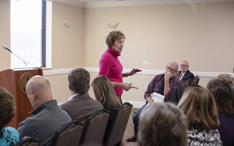 President Suzanne Shipley talks to a crowd of around 35 at the Campus Conversation event about joining the Texas Tech System. Feb. 18.