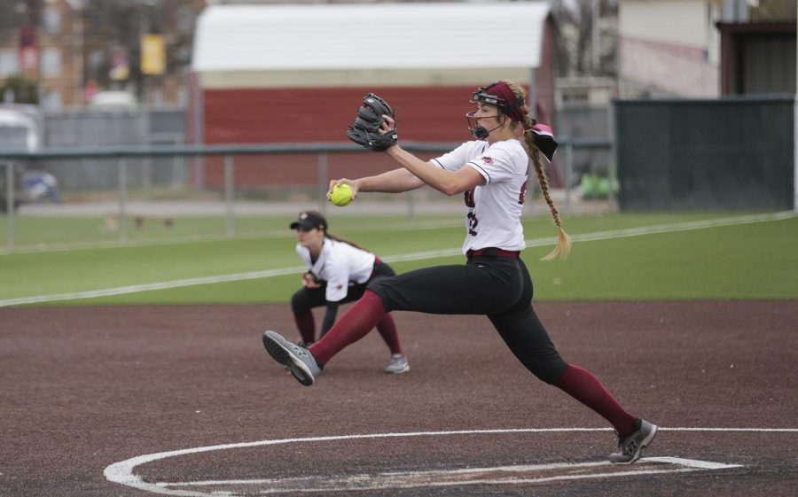 Jacey Henry winds up for her pitch against UT Tyler