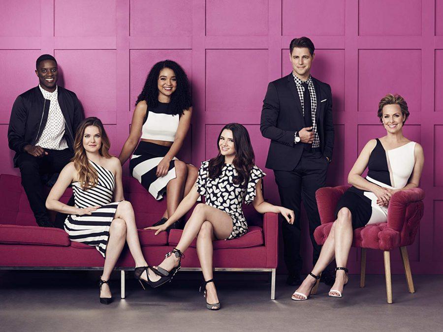 Melora Hardin, Sam Page, Matt Ward, Aisha Dee, Meghann Fahy, and Katie Stevens in The Bold Type (2017)