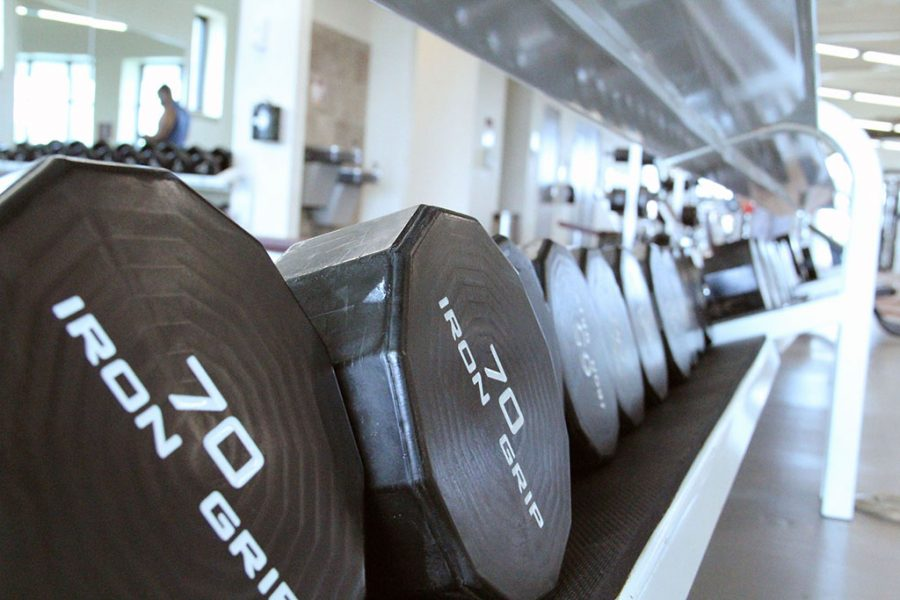 About 850 people workout at Wellness Center throughout the week days during the fall and spring semester.
