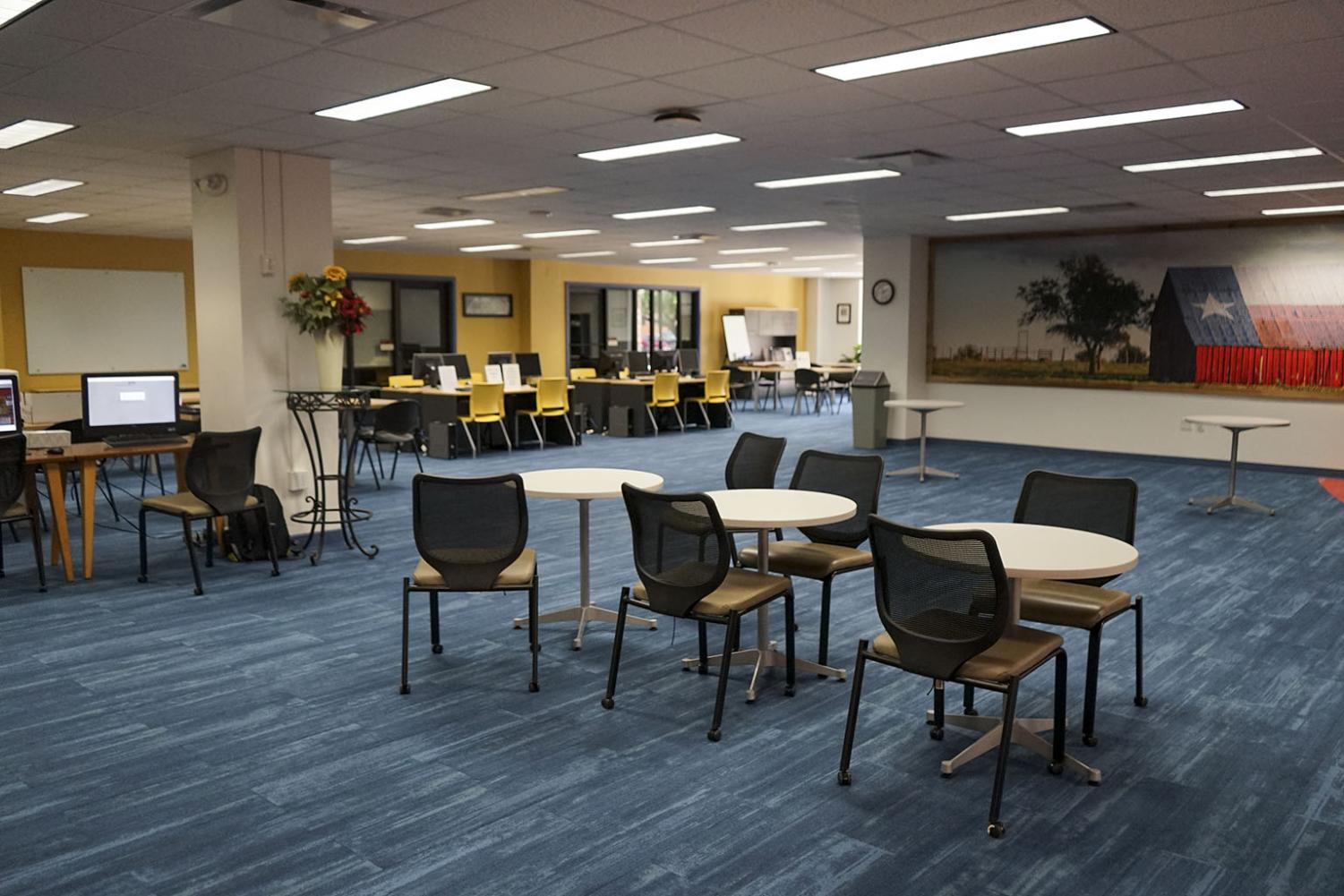 A view of the renovated first floor at Moffett Library