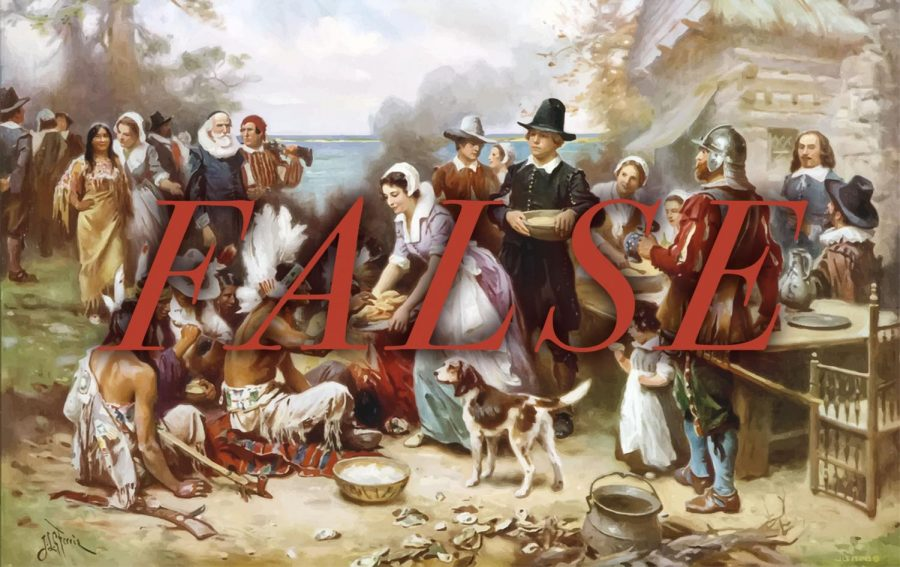 False Thanksgiving feast painting illustrating the pilgrims feasting with Native Americans.