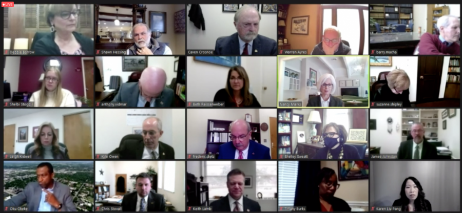 Screenshot of virtual Board of Regents meeting hosted by MSU Texas via Zoom, Feb. 11.