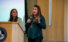 Assistant professor of social work Catherine Earley speaks informs MSU Texas students on the dangers and signs of human trafficking, March 17. P