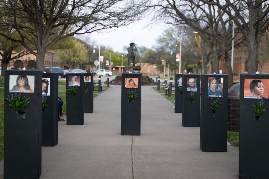 Monuments for deceased women of color on display in Sunwatcher Plaza, March 29