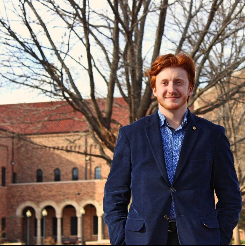 Newly named SGA president Austin Strode, economics junior, poses on campus.