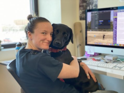 Bridget Reilly, sociology senior and editor in chief of The Wichitan, and her dog Jack, Jan. 30