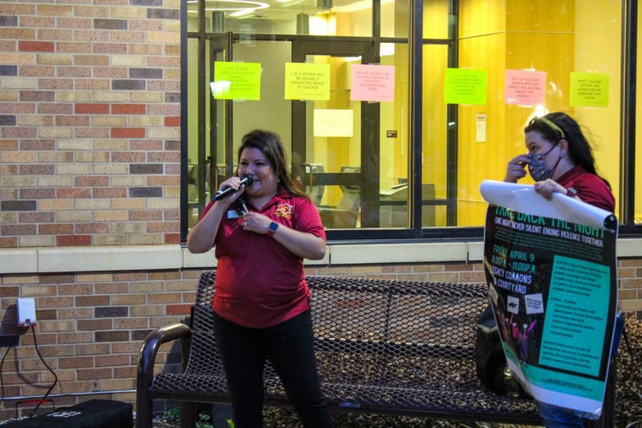 Director and Coordinator of Title IX, Laura Hetrick, addresses the attendees of Take Back the Night with more info about the event, April 9.