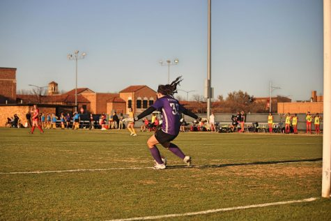 General business junior and goalkeeper Taylor Camp takes a goal kick, March 3.