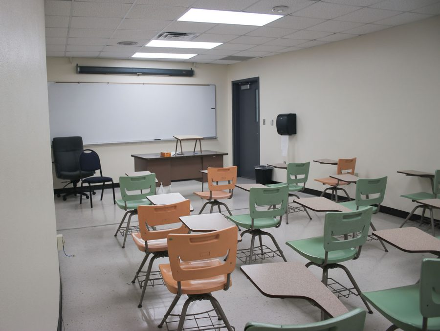 Ligon Colesim Building Room 131 recieved new LED lights and touched up paint