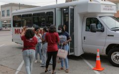 MSU students disembark in downtown Wichita Falls for the Downtown Night event