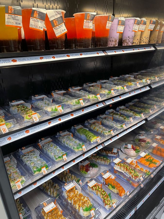 Ace Sushi offers grab-and-go meals in an open fridge