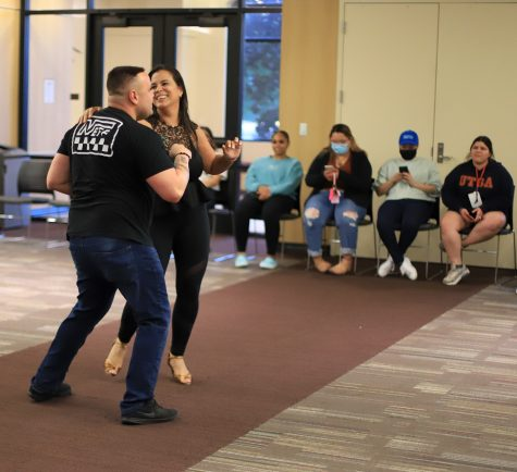 Instructors Keyla Ahow and Giancarlo Martini performing for the class towards the end of the event