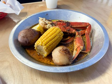 Crab leg boil with lemon pepper butter seasoning is one of the meals offered at the Catch.