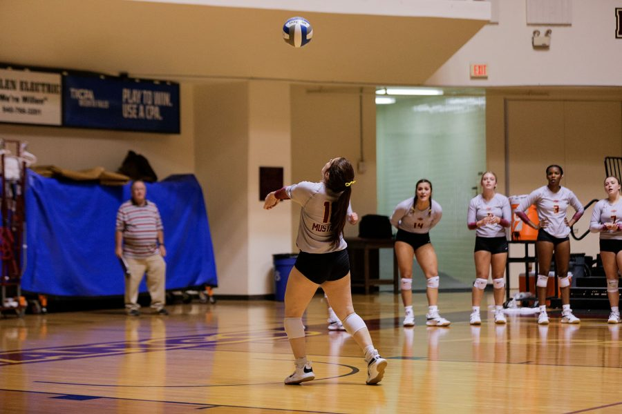 Education freshman and defensive specialist Delaney Torres sets the ball back into the court in an attempt to keep it from going out