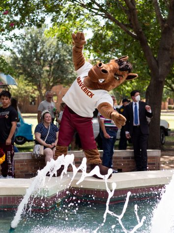 Maverick considers a jump into Bolin Fountain, but decides to pose instead