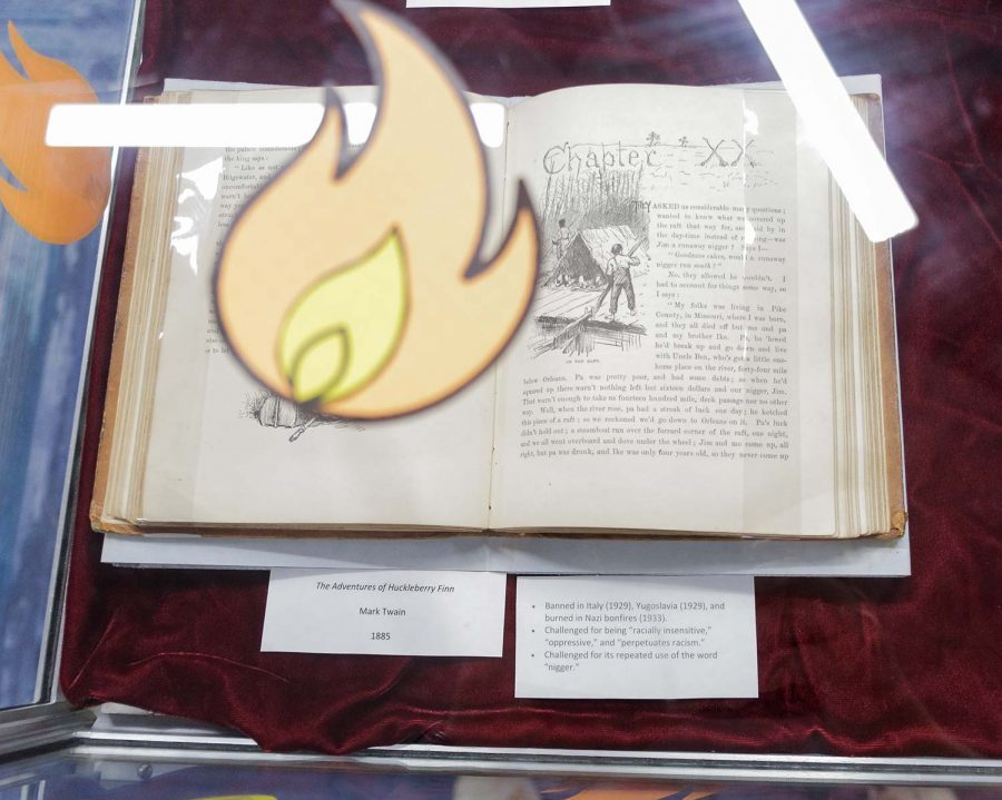 The Adventures of Huckleberry Finn sits at the Banned Books display in Moffet Library.
