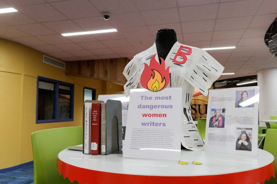The Banned Books display details female writers who have had their works banned over the years.